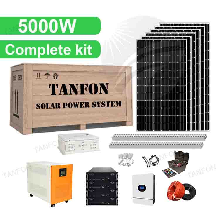5KW 5000 Watt Lithium battery Solar Power System Kit